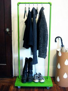 put a board with hooks on a platform with wheels to put in my office for scarves, purse, etc.
