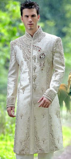 12650: White and Off White color family Sherwani.