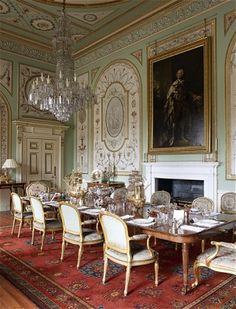 Inveraray Castle: The elaborate decoration in the State Dining Room was completed in 1784 by the French painters Girard and Guinand, whose work survives only in the castle.