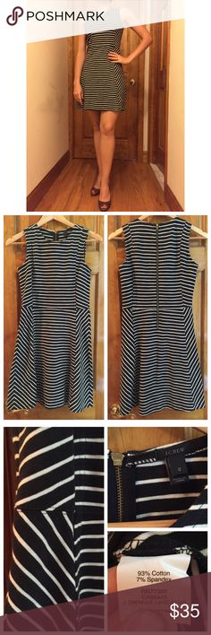 """J. Crew Stripped Sleeveless Dress Size:0 NWOT J. Crew Stripped Sleeveless Dress Size:0 Measurements: Bust: 15"""" Waist:14"""" Length: 34"""" // New Without Tags // Cute, long zipper detail on the back  // I ship same-day from pet/smoke-free home. 15% off on 2 or more item bundles. Buy with confidence. I am a top seller here for a reason. 😊😎 J. Crew Dresses Mini"""