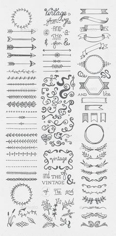 Buy Hand Drawn Vintage Elements Collection by egirldesign-vectors on GraphicRiver. Hand drawn vintage elements collection A set of 111 hand drawn vintage elements – dividers, frames, ribbons, phrases . Bullet Journal Inspo, Bullet Journal Vintage, Borders Bullet Journal, Bullet Journal Writing, Bullet Journal Headers, Bullet Journal Banner, Bullet Journal Aesthetic, Bullet Journal Ideas Pages, Bullet Journal Frames
