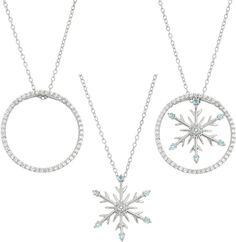 FINE JEWELRY Blue Topaz & Lab-Created White Sapphire Circle And Snowflake Interchangeable Sterling Silver Pendant Necklace