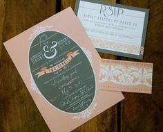 Vintage Style Unique Wedding Invitations - Pink, Grey, Ivory. $4.00, via Etsy.