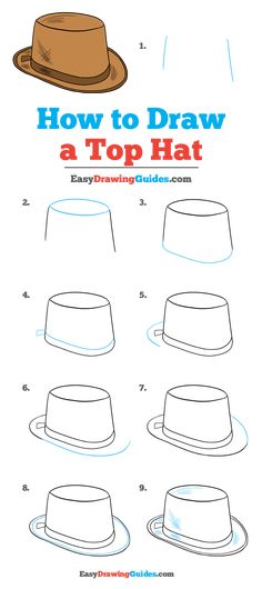 Learn to draw a top hat. This step-by-step tutorial makes it easy. Kids and beginners alike can now draw a great looking top hat. Top Hat Drawing, Guy Drawing, Drawing Tips, Drawing Ideas, Drawing Tutorials For Kids, Drawing For Kids, Character Design Tutorial, Object Drawing, Pencil And Paper