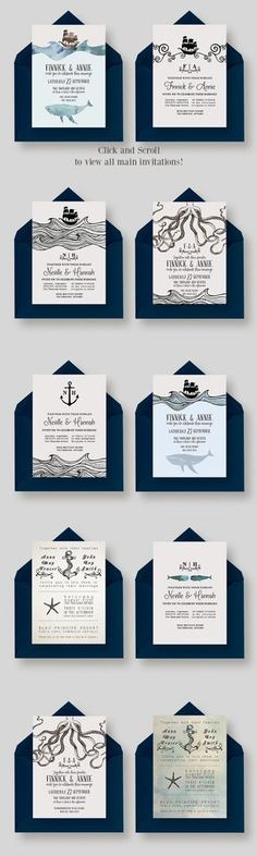 Nautical Wedding Collection includes: Beach Wedding Invitation Pack AND Octopus Wedding Invitation Suite! Check them out!