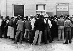 Migrants waiting for relief checks. California. February 1937. PBS' The Dust Bowl
