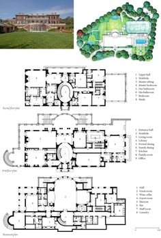"A rear view, site plan, and floor plans for ""Rosewood,"" an approximately 24,000 square foot home completed in 2005. It is located in the east Bel Air section of Los Angeles."