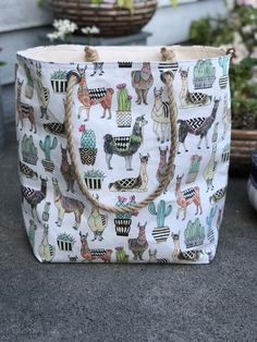 The Weekender Lovely Llama Jute Rope Handle Utility Tote Carryall Project Travel Vacation Beach Getaway Market Bag by KitchenKlutter on Etsy Alpacas, Cute Llama, Llama Llama, Llama Face, Funny Llama, Llama Decor, Llama Gifts, Utility Tote, Faux Fur Pom Pom