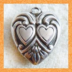 Vintage Art Deco Sterling Puffy Heart ~ Double Hearts with Tulip Motif