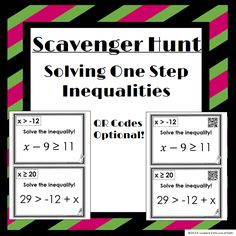 One Step Inequality Scavenger Hunt. QR Codes optional! Watch your students work together to find the correct answers before their classmates!