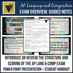 AP English Language & Composition Exam Overview: Presentation and Guided Notes English Short Stories, Ap English, English Language, Language Arts, Ap Literature, American Literature, Teaching High Schools, Teaching Ideas, Creative Teaching