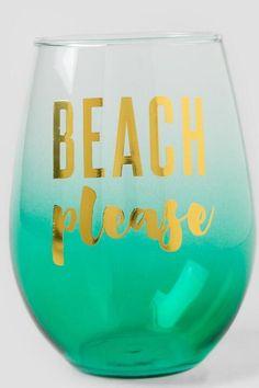 Beach Please Ombré  Stemless Wine Glass