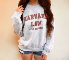 Harvard Law Just Kidding Sweatshirt  Also available in maroon: https://www.etsy.com/listing/292676839/harvard-law-just-kidding-sweatshirt  // d e s c r i p t i o n // This heavy blend crewneck sweatshirt features Harvard Law Just Kidding printed on the front in college-style letters. It has a medium thickness. Model is 57 and is wearing a medium -- fits true to size. ✓ 50% cotton, 50% polyester ✓ Preshrunk fleece ✓ Pill-resistant air jet yarn ✓ Double-needle stitching throughout ✓ 1x1…