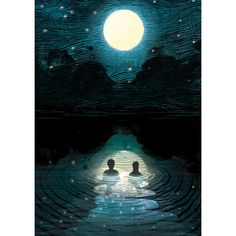 Night Swimming Lithograph Art Print by Adam Fisher (€35) ❤ liked on Polyvore featuring home, home decor, wall art, backgrounds and adam