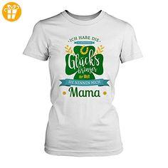 Fashionalarm Damen T-Shirt - Die schönsten Glücksbringer der Welt nennen mich Mama | Fun Shirt mit Spruch als Geburtstag Geschenk Idee für Mütter, Farbe:weiß;Größe:5XL (*Partner-Link)