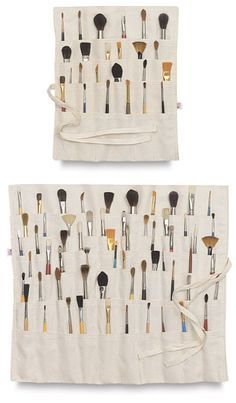If you like to keep a lot of brushes on hand, you need the Brush Organizer! No matter how many brushes you own, you can roll them up and store them with ease in this spacious, × cm × 46 cm) organizer. Art Studio Storage, Art Supplies Storage, Art Studio Organization, Art Storage, Storage Ideas, Storage Hacks, Tool Storage, Marker Storage, Cheap Storage