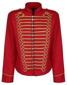 58a73350361 Men s Black Gold Silver Emo Punk Goth MCR Officer Military Drummer Parade  Jacket