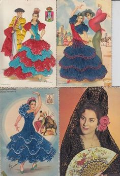 EMBROIDERED incl. SPANISH DANCERS   Vintage Postcards pre-1970 Andalucia