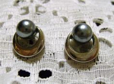 Petite Silvertone and Blue Grey Pearl Pierced by vintagerepublic1, $15.00