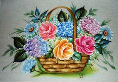 Pintura em Tecido Cesta de Flores