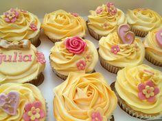 Yellow rose cupcakes