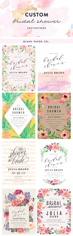 Choose from 20+ Custom Bridal Shower Invitations!  Personalize with your colors and event information.