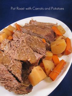 Traditional pot roast with vegetables in the crock pot. Comfort food at its best.