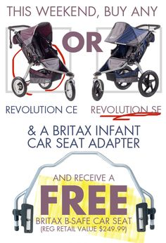 Have we got a deal for you! This weekend only, from Friday April 25 to Sunday April 27, when you buy a BOB Revolution SE or CE plus a Britax Infant Car Seat Adapter you'll receive a Britax B-Safe Car Seat completely FREE! That's a $249.99 value - wowza!   *Offer valid in store only at our Wellington Street location. Deal on from 10 a.m. 04/25/14 until 6 p.m. 04/27/14 while supplies last/in stock merchandise only. See store staff for details.* #FabBabyGear #BOB #FreeCarSeat #WellingtonWest