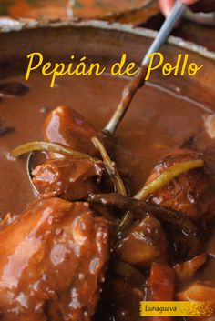 Pepián de Pollo is a traditional Guatemalan dish made of chicken stew and various seeds, vegetables and spices. #food #Guatemala #chicken