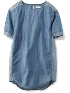 Short-Sleeve Chambray Dress for Girls Product Image