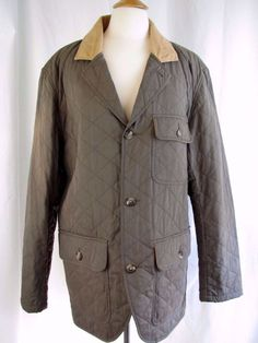 J.L. POWELL Mens L Quilted Insulated Button Up Field Hunting Coat Olive Green  #JLPowell #BasicJacket