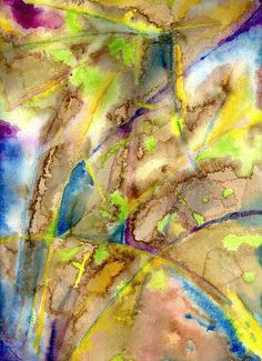 Abstract painting of palm trees before a hurricane hits.