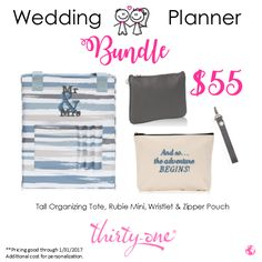 What better way to keep all of your Wedding Planning materials at hand! than with this bundle? Magazines, Planner, Guest List, Fabric Swatches, Business Cards & Contacts all together in one place! www.mythirtyone.com/asucich
