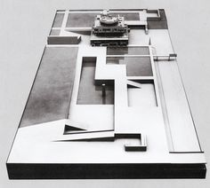 """The Governor's Palace, Chandigarh. Le Corbusier, 1950-1951 . The model of the palace and its site at the scale of 1/8""""=1'. The ramp of the Monument to the Martyrs is in front. Two levels of gardens and water pools face the palace. Pedestrians enter along the shifting series of squares in the center, automobiles enter along the straight road to the right."""