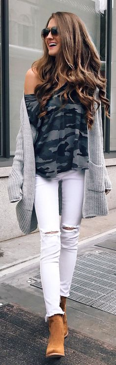 Camo Off Shoulder Knit / Grey Cardigan / White Skinny Jeans / Brown Suede Booties