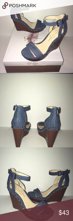 """Jessica Simpson Denim Platform Size 6.5 Wedges New in Box. Ankle Strap With Adjustable Buckle. 1 1/2"""" Platform 4 1/2"""" Wedge. Jessica Simpson Shoes Platforms"""