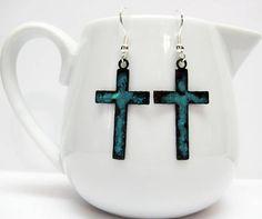 Copper Tideline Patina Cross Earrings  Metal Cross Earrings