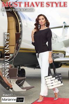 Stylish Frank Lyman Tops in timeless black/white. Fashionable shoulder slits with dolman sleeves. Proudly Made In Canada