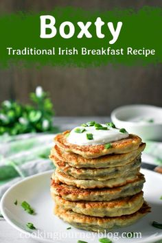 Boxty is a traditional Irish Breakfast recipe. These easy potato pancakes are made from mashed potatoes and shredded potatoes. One of the best Irish recipes for St. Irish Desserts, Irish Recipes, Asian Desserts, Irish Appetizers, Mashed Potato Pancakes, Savory Pancakes, Boxty Recipe, Brunch Recipes, Breakfast Recipes