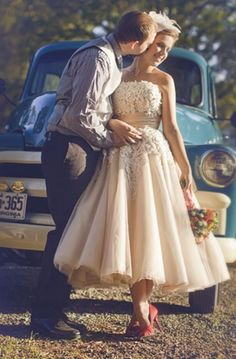 retro, champagne colored wedding dress with red pumps (8465 by Justin Alexander)