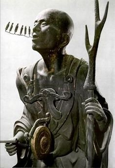 By Kaya 1200 - 1225 of Monk Kuya  Shonin (10th C.) with six miniature Amida images flowing out of his mouth which represent the chanting of the six-character devotional nenbutsu to Amida.  Wood, crystal, pigment. Rokuharamitsu-ji Temple Kyoto.