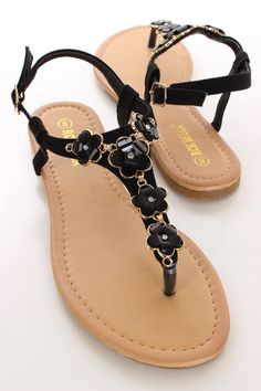 Black Floral Decor Sandals