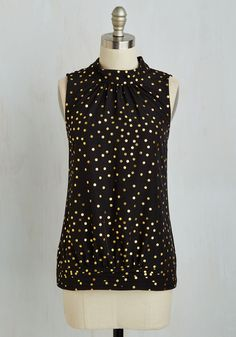 Midtown Magnificence Top in Dotted Black | Mod Retro Vintage Short Sleeve Shirts | ModCloth.com
