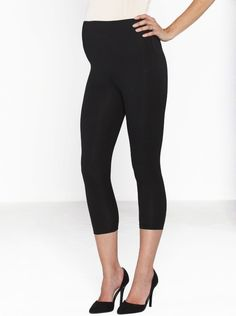 ed534541b5f48 Foldable Waist Band 3/4 Length Legging in Black, $24.95, are the perfect.  Angel Maternity
