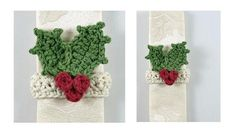 This Superb Seasonal Crochet Napkin Ring Is The Ideal Last Minute Festive Touch To Add To Your Table. Quick, Easy And Simple, But Very Effective! Crochet Home, Crochet Crafts, Free Crochet, Crochet Kitchen, Diy Crafts, Christmas Napkin Rings, Christmas Napkins, Wedding Silverware, Silverware Holder