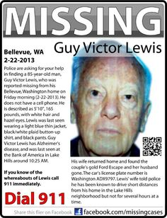 2/23/2013 HAPPY UPDATE: Mr.Lewis, who suffers from Alzheimer's, has been found safe in Ontario, OR - he thought he was driving to KY.
