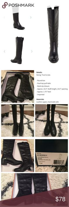 Arturo Chiang black riding boots-Georgex Arturo Chiang black riding boots.  Style name is Georgex.  Worn twice.  Calf is 15.5 in.  Great boot, I just prefer the flatter heel.  Pet and smoke free home.  Will ship with the box.  Reasonable offers welcomed!! Thank you! Arturo Chiang Shoes Heeled Boots