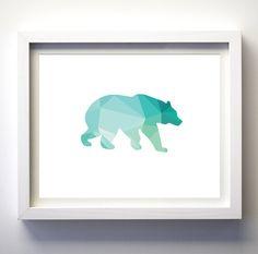 Geometric Bear art print teal turqioise by FancyPrintsforHome