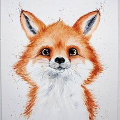 Little fox for my friend's baby room And I also participate in @top_watercolor_shop competition. I wish this little buddy to be printed on postcards A4, Watercolour #top_watercolor