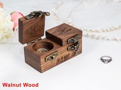 solid WALNUT and Oak handmade from raw materials DIMENSIONS -Box Dimensions (approx. Ring Bearer Pillows, Ring Bearer Box, Wooden Ring Box, Wooden Rings, Ring Holder Wedding, Wedding Rings, Proposal Ring Box, Picture On Wood, Custom Boxes
